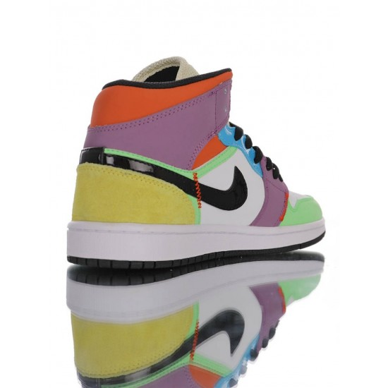 "Air Jordan 1 Mid GS ""Multicolor"" CW1140-100 Blue Green"